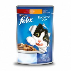 Felix Fantastic Duo консервы для кошек кусочки в желе говядина и птица 100 г