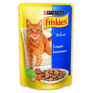 Friskies (Фрискис) консервы для котов с тунцом и морковью в желе 100г