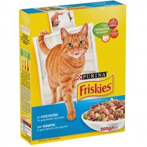 Friskies (Фрискис) сухой корм для котов с лососем и овощами 300г