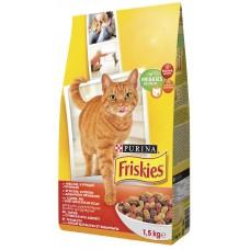 Friskies (Фрискис) сухой корм для котов с мясом, курицей и печенью 1,5кг