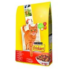 Friskies (Фрискис) сухой корм для котов с мясом, курицей и печенью 10кг