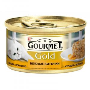 """Gourmet Gold (Гурме Голд) консервы для котов с курицей и морковью """"Нежные биточки"""" 85г"""