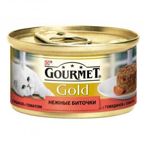 """Gourmet Gold (Гурме Голд) консервы для котов с говядиной и томатами """"Нежные биточки"""" 85г"""