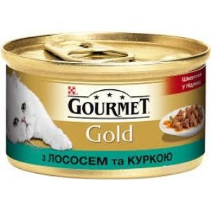 Gourmet Gold (Гурме Голд) консервы для котов с лососем и курицей кусочки в подливе 85г