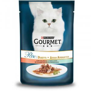 Gourmet Perle (ГурмеПерл) консервы для кошек с лососем, сайдой в подливе 85 г
