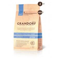 Grandorf White fish & Potato сухой корм для котов с чувствительным пищеварением с белой рыбой и бататом 400г