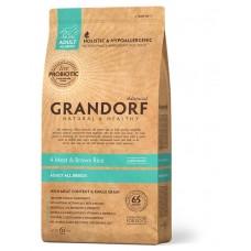 Grandorf Living Probiotics 4 Meat & Brown Rice All breeds сухой корм для собак 4 вида мяса и рис 12 кг