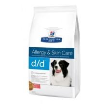 Hills PD Canine D/D лечебный корм для взрослых собак страдающих заболеваниями кожи с лососем и рисом 12 кг