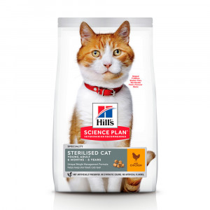 Hills SP Felinе Young Adult Sterilised Cat сухий корм для контролю ваги у кастрованих котів і стерилізованих котів з куркою 10 кг