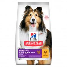 Hill's Science Plan Medium Adult Sensitive Stomach&Skin для собак с чувствительным пищеварением и кожей, 14 кг