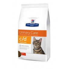 Hills PD Feline C/D Multicare лечебный корм для профилактики мочекаменных болезней у кошек с курицей 0,4 кг