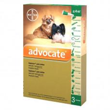 Капли на холку для собак Bayer «Advocate» (Адвокат) до 4 кг, 3 пипетки (от внешних и внутренних паразитов)