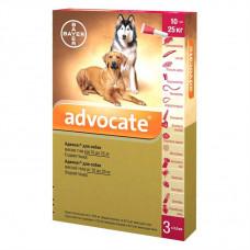 Капли на холку для собак Bayer «Advocate» (Адвокат) от 10 до 25 кг, 3 пипетки (от внешних и внутренних паразитов)