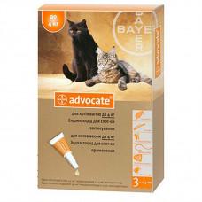 Адвокат капли от заражений эндо и экто паразитами для котов и хорьков (до 4 кг) Bayer Advocate 1 уп.(3 пипетки*0,4мл)