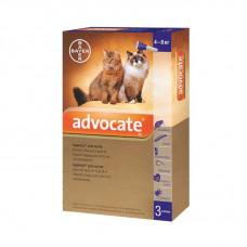Адвокат капли от заражений эндо и экто паразитами для котов и хорьков (от 4 до 8 кг) Bayer Advocate 1 уп.(3 пипетки*0,8мл)