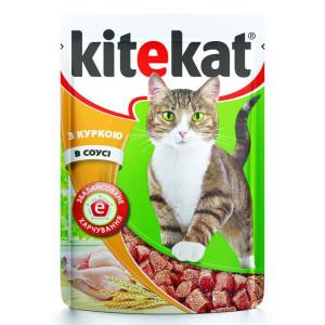 Kitekat (Китикет) консервы для взрослых кошек с курицей в соусе 100г