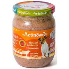Леопольд, консервы для собак, мясные деликатесы с мясом ягненка 0,5 кг.