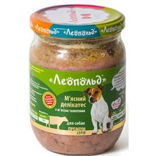 Леопольд, консервы для собак, мясные деликатесы с мясом телятины 0,5 кг.
