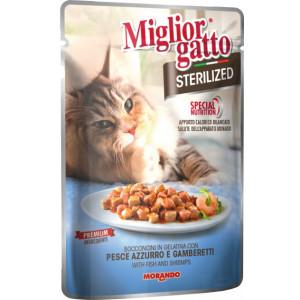 Migliorgatto Sterilized Pouch консервы для кошек кусочки в желе с рыбой и креветками 0,085 кг