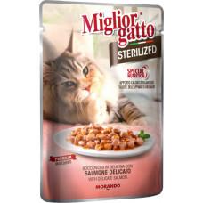 Migliorgatto Sterilized Pouch консервы для кошек кусочки в желе с нежным лососем 0,085 кг