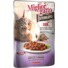 Migliorgatto Sterilized Pouch консервы для кошек кусочки в соусе с ягненком и овощами 0,085 кг