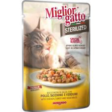 Migliorgatto Sterilized Pouch консервы для кошек кусочки в соусе с курицей, индейкой и овощами 0,085 кг
