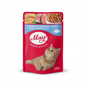 Мяу! Консервы для котов с рыбой 0,1 кг