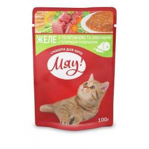 Мяу! Консервы для котов с телятиной и овощами 0,1 кг