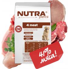 NUTRA pets Regular 4 meat сухой корм для взрослых собак средних и крупных пород 10 кг