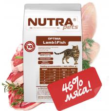 NUTRA pets Feline Adult OPTIMA Lamb&Fish сухой корм для взрослых котов с ягненком и рыбой 5 кг