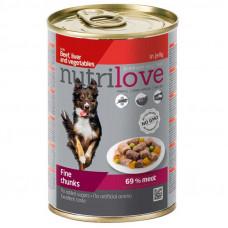 Nutrilove Beef, Liver and Vegetables консервы для собак кусочки говядины, печень и овощи 0,415 кг