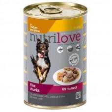 Nutrilove Chicken and Pasta консервы для собак кусочки курицы с макаронами в соусе 0,415 кг