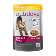 Nutrilove Chicken in Sauce консервы для кошек кусочки с курицей в соусе 0,085 кг