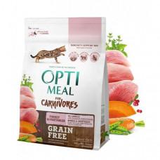 Optimeal беззерновой сухой корм для котов индейка и овощи 0,3 кг