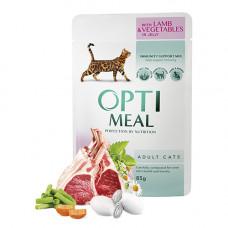 Optimeal консервы для котов с ягненком и овощами в желе 0,085 кг