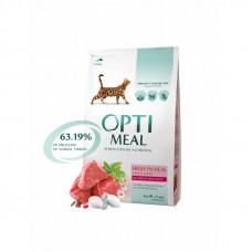Optimeal сухой корм для котов с большим содержанием телятины 4 кг