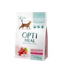 Optimeal сухой корм для котов с телятиной 0,3 кг