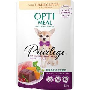 Optimeal (Оптимил) консервы для взрослых собак миниатюрных и малых пород с индейкой и печенью в тыкве в желе 0,085 кг