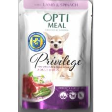 Optimeal (Оптимил) консервы для взрослых собак миниатюрных и малых пород с ягненком и шпинатом в соусе 0,085 кг