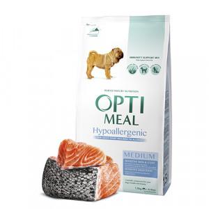 Optimeal (Оптимил) гипоаллергенный сухой корм для взрослых собак средних пород с лососем 1,5 кг