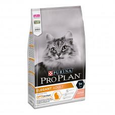 ProPlan Elegant сухой корм для кошек с чувствительной кожей, выведение комков шерсти с лососем 10 кг