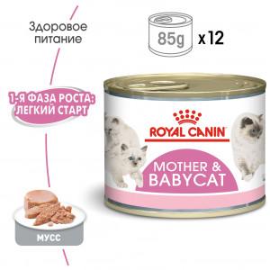 Royal Canin  mother babycat мусс для котят до 4 месяцев и беременных, кормящих кошек 0,195 кг.