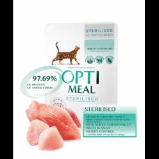 Optimeal консервы для стерилизованных котов с индейкой и куриным филе в соусе 0,085 кг