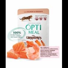 Optimeal беззерновой консервированный корм для котов с лососем и креветками в соусе 0,085 кг