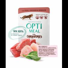 Optimeal консервы для котов с телятиной куриным филе и шпинатом в соусе 0,085 кг