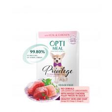 Optimeal консервы для собак миниатюрных и малых пород с телятиной и куриным филе 0,085 кг