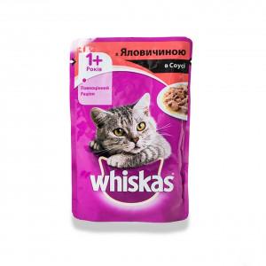 Whiskas (Вискас) консервы для кошек с говядиной в соусе 100г